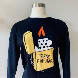 """Trend Popular"" Pop Art sweater unique navy blue intarsia knit pullover S/M"